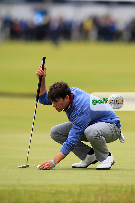 \Romain Langasque (FRA) (a)\ on the 17th during the final round on Monday of the 144th Open Championship, St Andrews Old Course, St Andrews, Fife, Scotland. 20/07/2015.<br /> Picture: Golffile | Fran Caffrey<br /> <br /> <br /> All photo usage must carry mandatory copyright credit (&copy; Golffile | Fran Caffrey)