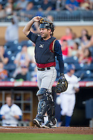 Scranton/Wilkes-Barre RailRiders catcher Austin Romine (7) on defense against the Durham Bulls at Durham Bulls Athletic Park on May 15, 2015 in Durham, North Carolina.  The RailRiders defeated the Bulls 8-4 in 11 innings.  (Brian Westerholt/Four Seam Images)