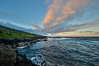 The Kipahulu coastline at dusk, Hana, Maui.