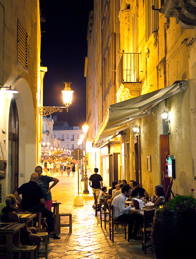 Dining outside in summer, Lecce, Puglia, Italy