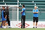 26 August 2011: Natasha Kai (00) points as head coach Paul Riley (right) watches. The Philadelphia Independence held a training session at Sahlen's Stadium in Rochester, New York the day before playing in the Women's Professional Soccer championship game.