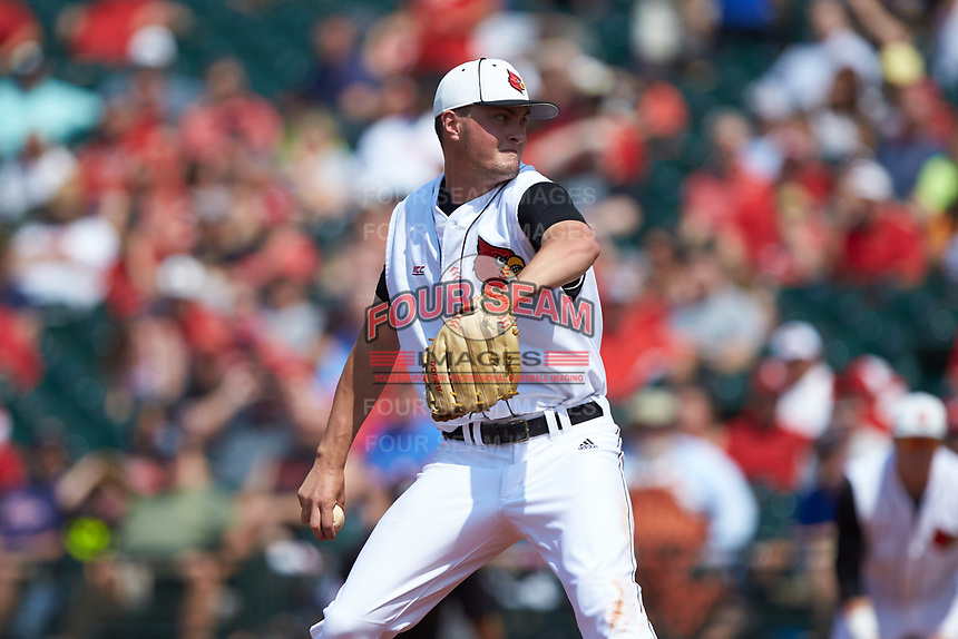 Louisville Cardinals starting pitcher Kade McClure (19) in action against the Florida State Seminoles in Game Eleven of the 2017 ACC Baseball Championship at Louisville Slugger Field on May 26, 2017 in Louisville, Kentucky. The Seminoles defeated the Cardinals 6-2. (Brian Westerholt/Four Seam Images)