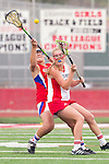 Redondo Beach, CA 05/14/11 - Hailey Newman (Redondo Union #6) and Allie Conrad (Los Alamitos #13)in action during the 2011 US Lacrosse / CIF Southern Section Division 1 Girls Varsity Lacrosse Championship, Los Alamitos defeated Redondo Union 17-5.