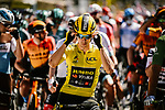 Yellow Jersey Primoz Roglic (SLO) Team Jumbo-Visma lines up for the start of Stage 10 of Tour de France 2020, running 168.5km from Ile d'Oléron to Ile de Ré, France. 8th September 2020.<br /> Picture: ASO/Pauline Ballet | Cyclefile<br /> All photos usage must carry mandatory copyright credit (© Cyclefile | ASO/Pauline Ballet)