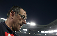 Calcio, Serie A: Juventus - Napoli, Torino, Allianz Stadium, 22 aprile, 2018.<br /> Napoli's coach Maurizio Sarri reaches the bench before the start of the Italian Serie A football match between Juventus and Napoli at Torino's Allianz stadium, April 22, 2018.<br /> UPDATE IMAGES PRESS/Isabella Bonotto