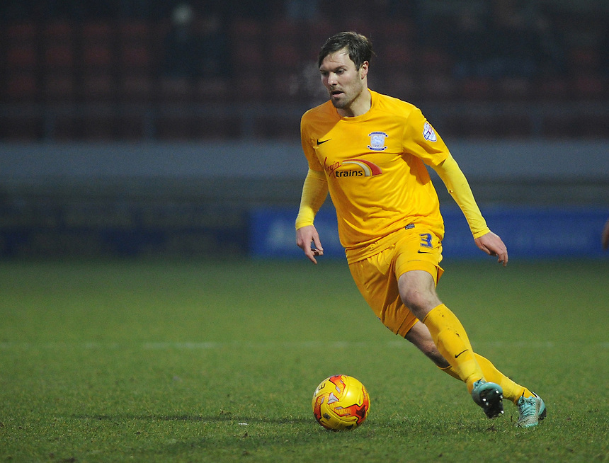 Preston North End's Scott Laird in action during todays match  <br /> <br /> Photographer Kevin Barnes/CameraSport<br /> <br /> Football - The Football League Sky Bet League One - Crewe Alexandra v Preston North End - Sunday 28th December 2014 - Alexandra Stadium - Crewe<br /> <br /> &copy; CameraSport - 43 Linden Ave. Countesthorpe. Leicester. England. LE8 5PG - Tel: +44 (0) 116 277 4147 - admin@camerasport.com - www.camerasport.com