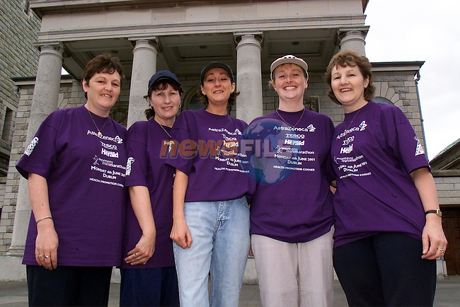 Maria Collins, Noleen Wallford, Melita Godfrey, Caroline Donnelly and Deirdre Farrelly who were running to raise money for the Intensive Care Unit in the Lady of Lourdes hospital pictured at Lourdes Square before leavig for Dublin on Monday..Picture:Arthur Carron