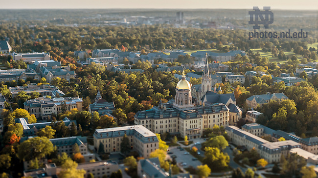 Oct. 7, 2015; Campus aerial, tilt-shift. (Photo by Matt Cashore/University of Notre Dame)