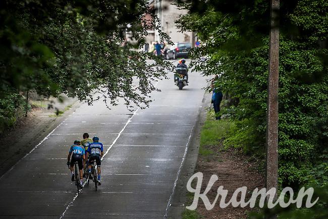 Early break away group with Belgium team rider Laurens De Vreese (BEL/Astana) up the 'La Houppe'. <br /> <br /> Belgian Cycling / Team Belgium<br /> <br /> 71th Halle Ingooigem 2018 (1.1)<br /> 1 Day Race: Halle > Ingooigem (197.7km)