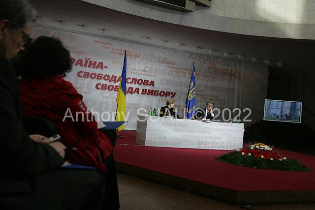 Kiev, ukraine.March 14, 2006..Ukraine President Victor Yushchenko holds a press conference in the Ukrainian House.