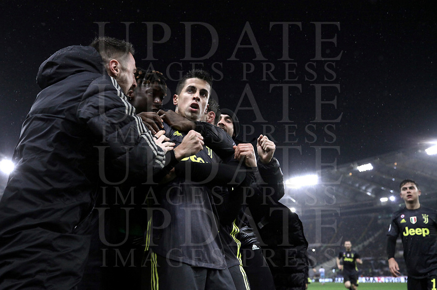 Football, Serie A: S.S. Lazio - Juventus, Olympic stadium, Rome, January 27, 2019. <br /> Juventus' Joao Cancelo (c) celebrates after scoring with his teammates during the Italian Serie A football match between S.S. Lazio and Juventus at Rome's Olympic stadium, Rome on January 27, 2019.<br /> UPDATE IMAGES PRESS/Isabella Bonotto