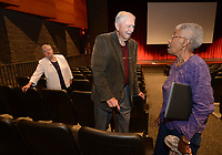 NWA Democrat-Gazette/ANDY SHUPE<br /> Peggy Taylor Lewis (from right), who was one of the first black students to graduate from Fayetteville High School,  speaks Thursday, Oct. 11, 2018, with pediatric dentist James Hunt and longtime educator Faye Jones before the start of a presentation by the four Fayetteville Public Schools Hall of Honor inductees in the Performing Arts Center on the Fayetteville High School campus. Also inducted was beloved educator George Spencer.