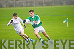 Dromid Pearses Cian O'Shea and Na Gaeil's Darragh Carmody at the Junior Championship Round 1 Na Gaeil Vs Dromid Pearses at Na Gaeil ground on Saturday
