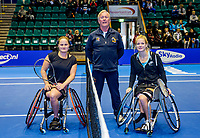 Rotterdam, Netherlands, December 17, 2017, Topsportcentrum, Ned. Loterij NK Tennis, Wheelchair woman's  final between : Dide de Groot (NED) (R)  Aniek van Koot (NED) in the middle umpire Peter van den Hoven <br /> Photo: Tennisimages/Henk Koster