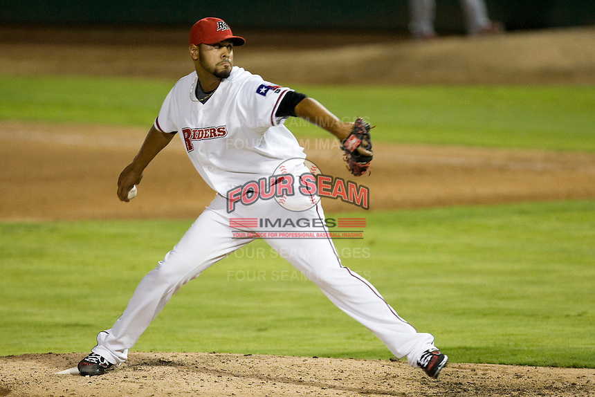 Frisco Roughriders pitcher Adalberto Flores #43 delivers during the Texas League All Star Game played on June 29, 2011 at Nelson Wolff Stadium in San Antonio, Texas. The South All Star team defeated the North All Star team 3-2. (Andrew Woolley / Four Seam Images)