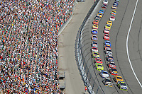 Sept. 28, 2008; Kansas City, KS, USA; Nascar Sprint Cup Series driver Jimmie Johnson and Mark Martin lead the field to the green flag during the Camping World RV 400 at Kansas Speedway. Mandatory Credit: Mark J. Rebilas-
