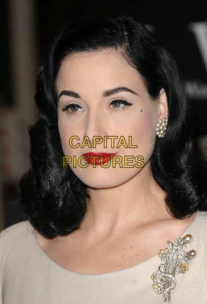 "DITA VON TEESE .At Waterstone's to sign her book ""Burlesque & The Art Of The Teese"", London, England. .November 22nd, 2007.headshot portrait red lipstick pearl earrings brooch silver .CAP/ BEL.©Tom Belcher/Capital Pictures."