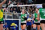 05.10.2019, Halle Berg Fidel, Muenster<br />Volleyball, Bundesliga Frauen, Normalrunde, USC MŸnster / Muenster vs. Allianz MTV Stuttgart<br /><br />Jubel Liza Kastrup (#5 Muenster), Barbara Roxana Wezorke (#11 Muenster)<br /><br />  Foto © nordphoto / Kurth
