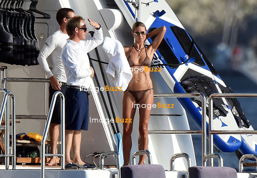 Heidi Klum enjoys some jet skiing while on vacation aboard a yacht in Saint Barths.<br /> Saint Barths, January 2, 2015.