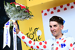 Kevin Ledanois (FRA) Fortuneo-Samsic wears the first mountains Polka Dot Jersey on the podium at the end of Stage 1 of the 2018 Tour de France running 201km from Noirmoutier-en-l&rsquo;&Icirc;le to Fontenay-le-Comte, France. 7th July 2018. <br /> Picture: ASO/Alex Broadway | Cyclefile<br /> All photos usage must carry mandatory copyright credit (&copy; Cyclefile | ASO/Alex Broadway)