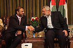 "Palestinian Prime Minister Ismail Haniyeh receive the delegation ship ""dignity"" at his headquarters in Gaza city."