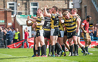 Picture by Allan McKenzie/SWpix.com - 22/04/2018 - Rugby League - Ladbrokes Challenge Cup - York City Knight v Catalans Dragons - Bootham Crescent, York, England - York's celebrate to their fans after scoring their second try against Catalans.