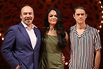 "Danny Burstein, Karen Olivio and Aaron Tveit from ""Moulin Rouge!"" The Broadway Musical at the Al Hirschfeld Theatre on July 9, 2019 in New York City."