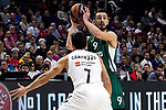 Real Madrid's Facundo Campazzo and Zalgiris' Leo Westermann during Euroligue match between Real Madrid and Zalgiris Kaunas at Wizink Center in Madrid, Spain. April 4, 2019.  (ALTERPHOTOS/Alconada)