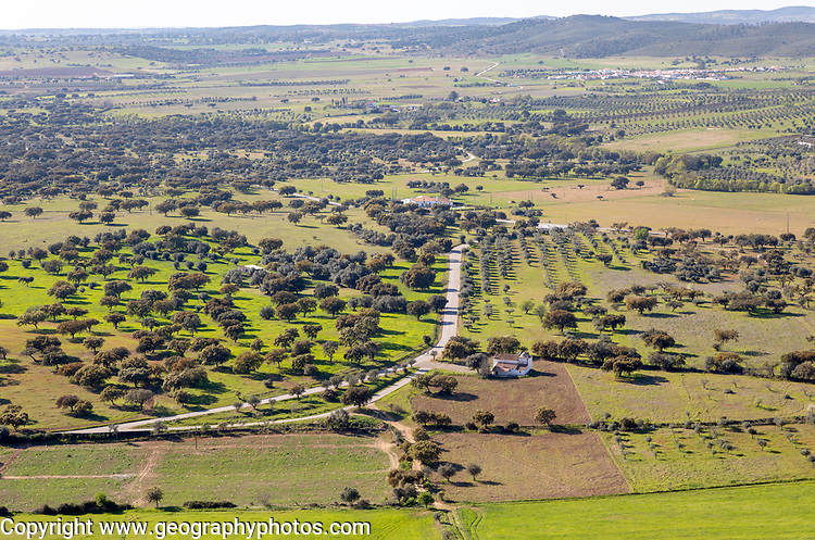 View over landscape from village of Monsaraz, Alto Alentejo, Portugal, southern Europe view  north over countryside fields, farms of Montado farming with oak trees