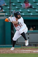 Fresno Grizzlies designated hitter Tyler White (27) at bat during a Pacific Coast League game against the Salt Lake Bees at Chukchansi Park on May 14, 2018 in Fresno, California. Fresno defeated Salt Lake 4-3. (Zachary Lucy/Four Seam Images)