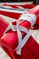 Outrigger Canoe rope lashing close up