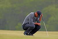 Tiger Woods (USA) looks dejected as he putts on the 2nd hole during the second round of the 118th U.S. Open Championship at Shinnecock Hills Golf Club in Southampton, NY, USA. 15th June 2018.<br /> Picture: Golffile | Brian Spurlock<br /> <br /> <br /> All photo usage must carry mandatory copyright credit (&copy; Golffile | Brian Spurlock)