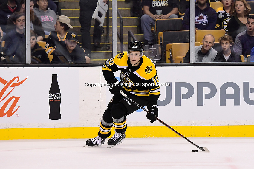 October 9, 2017: Boston Bruins left wing Anders Bjork (10) in game action during the NHL game between the Colorado Avalanche and the Boston Bruins held at TD Garden, in Boston, Mass. Colorado defeats Boston 4-0. Eric Canha/CSM