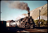 3/4 view of D&amp;RGW #473 in Durango with #489 right behind her.<br /> D&amp;RGW  Durango, CO