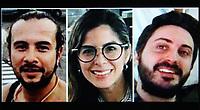 BOGOTÁ - COLOMBIA, 31-01-2019:Equipo de periodistas de la Agencia EFE que fueron detenidos en Venezuela por el régimen de Nicolás Maduro. De izquierda a derecha: Leonardo Muñoz (Fotoperiodista) ,Mauren Barriga y Gonzalo Domínguez / Team of journalists of the EFE Agency were arrested in Venezuela, Leonardo Muñoz, Mauren Barriga and Gonzalo Dominguez .Photo:Tomada del WhatsApp