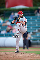 Richmond Flying Squirrels relief pitcher Dan Slania (45) delivers a pitch during a game against the Altoona Curve on May 15, 2018 at Peoples Natural Gas Field in Altoona, Pennsylvania.  Altoona defeated Richmond 5-1.  (Mike Janes/Four Seam Images)