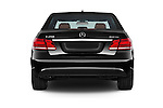 Straight rear view of a 2015 Mercedes Benz E Class Elegance 4 Door Sedan stock images