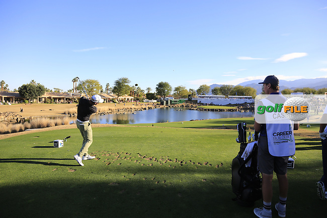 Paul Casey (ENG) tees off the par3 17th tee during Saturday's Round 3 of the 2017 CareerBuilder Challenge held at PGA West, La Quinta, Palm Springs, California, USA.<br /> 21st January 2017.<br /> Picture: Eoin Clarke | Golffile<br /> <br /> <br /> All photos usage must carry mandatory copyright credit (&copy; Golffile | Eoin Clarke)