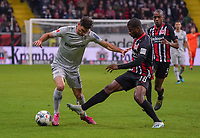Almamy Touré (Eintracht Frankfurt) trennt Lucas Alario (Bayer Leverkusen) vom Ball - 18.10.2019: Eintracht Frankfurt vs. Bayer 04 Leverkusen, Commerzbank Arena, <br /> DISCLAIMER: DFL regulations prohibit any use of photographs as image sequences and/or quasi-video.