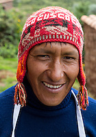 Peru, Urubamba Valley, Quechua Village of Misminay.  Man Wearing a Traditional Hat.