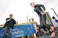 30 JUN 2007 - COPENHAGEN, DEN - Vanessa Fernandes (POR) steps on to the pontoon at the start of the European Elite Womens Triathlon Championships. (PHOTO (C) NIGEL FARROW)