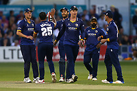 Ravi Bopara of Essex is congratulated by his team mates after taking the wicket of Steven Davies during Essex Eagles vs Somerset, NatWest T20 Blast Cricket at The Cloudfm County Ground on 13th July 2017