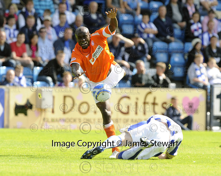 15/08/2009  Copyright  Pic : James Stewart.sct_jspa17_kilmarnock_v_hamilton  .IZZY IRIEKPEN IS CAUGHT LATE....James Stewart Photography 19 Carronlea Drive, Falkirk. FK2 8DN      Vat Reg No. 607 6932 25.Telephone      : +44 (0)1324 570291 .Mobile              : +44 (0)7721 416997.E-mail  :  jim@jspa.co.uk.If you require further information then contact Jim Stewart on any of the numbers above.........