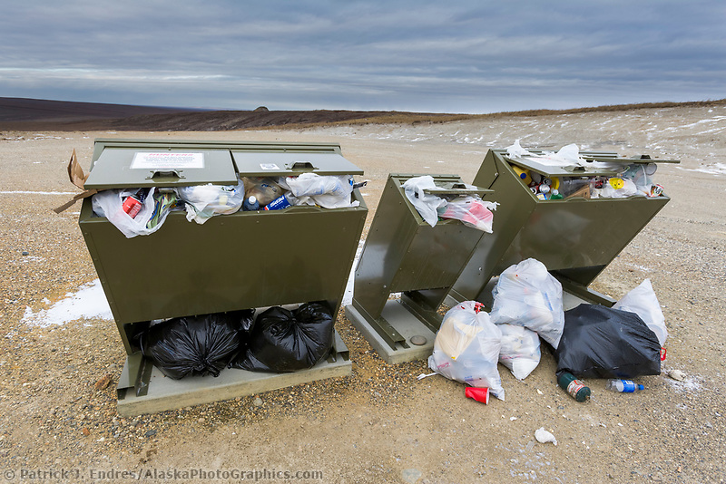 Over filled bear proof trash containers on the Arctic North Slope, Alaska.