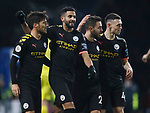 Riyad Marhez of Manchester City (2l) celebrates scoring their fourth goal during the Premier League match at Turf Moor, Burnley. Picture date: 3rd December 2019. Picture credit should read: Simon Bellis/Sportimage