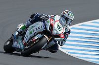 Jules Cluzel (FRA) riding the Suzuki GSX-R1000 (16) of the Fixi Crescent Suzuki team rounds turn 6 during a qualifying session on day one of round one of the 2013 FIM World Superbike Championship at Phillip Island, Australia.