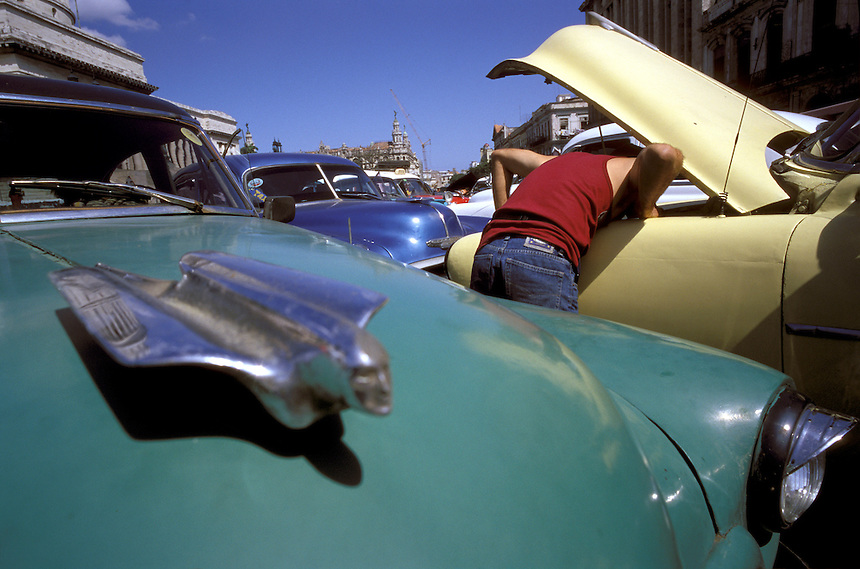 Inventive Cuban mechanics keep relics of 1950s Detroit cruising the streets of Havana, working so long they come to echo hood ornaments.