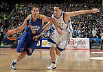 Asefa Estudiantes' Sergio Sanchez (l) and Real Madrid's Sergi Vidal during ACB match.September 30,2010. (ALTERPHOTOS/Acero)