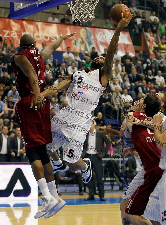 Kosarka, Euroleague, sezona 2011/2012.Partizan Vs. Belgacom Spirou.Acie Law, right.Belgrade, 03.11.2011..foto: Srdjan Stevanovic/Starsportphoto ©