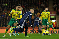 8th November 2019; Carrow Road, Norwich, Norfolk, England, English Premier League Football, Norwich versus Watford; Gerard Deulofeu of Watford takes on Jamal Lewis of Norwich City - Strictly Editorial Use Only. No use with unauthorized audio, video, data, fixture lists, club/league logos or 'live' services. Online in-match use limited to 120 images, no video emulation. No use in betting, games or single club/league/player publications